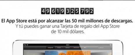 """La firma tecnológica Apple regalará una tarjeta de 10,000 dólares para su tienda de aplicacionesAppStore al usuario que descargue la app 50,000 millones. """"Nos estamos acercando a los 50,000 millones […]"""